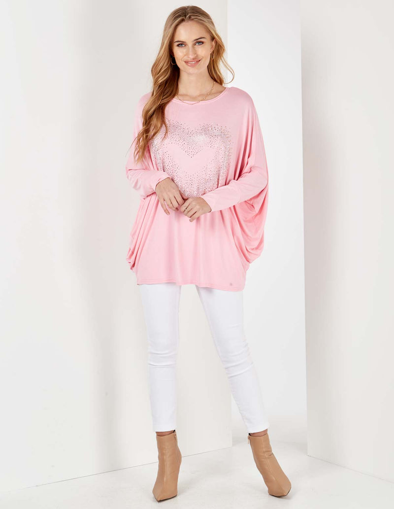 MIA - Oversized Bling Pink Heart Top
