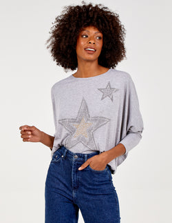 CHARLOTTE- Diamante Star Oversized Top