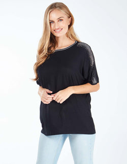 MABLE - Sequin Detail Batwing Black Top