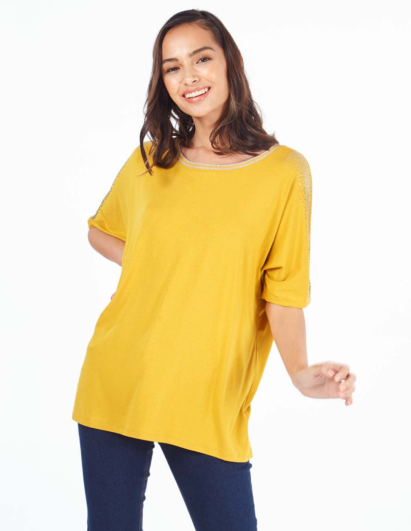 MABLE - Sequin Detail Batwing Mustard Top