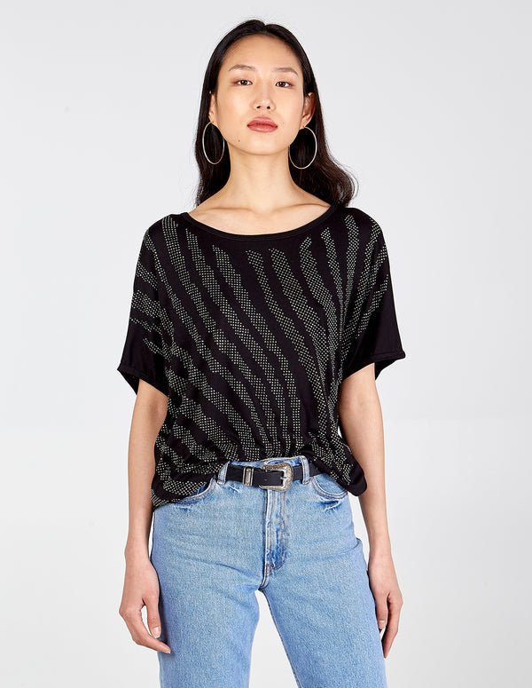 PAULA - Diamante Detail Batwing Oversized Top