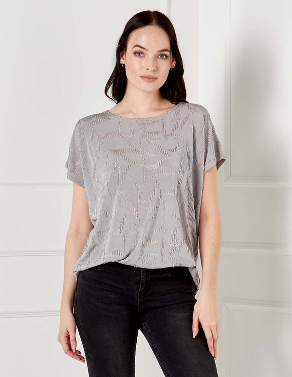 KAIYA - Jacquard Ripple Effect Grey Top