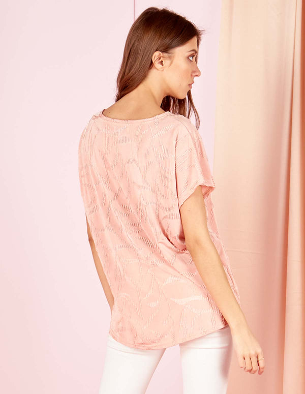KAIYA - Jacquard Ripple Effect Pink Top