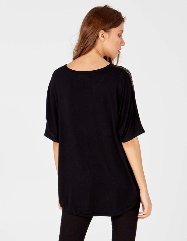 ELOISE - Diamond Detailed Short Sleeve Black Top