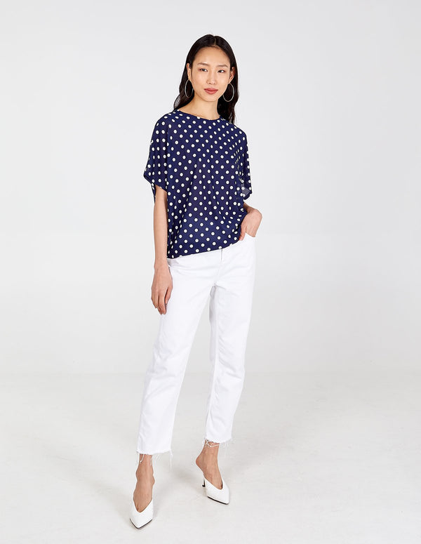 CECILY - Navy Polka Dot Oversized Top