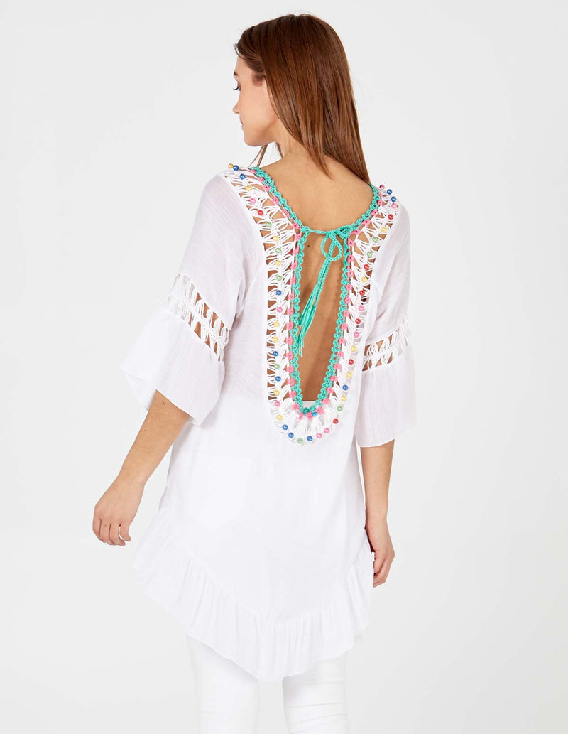 MADELINE - Multi Colour Crochet Drop Back Cream Top