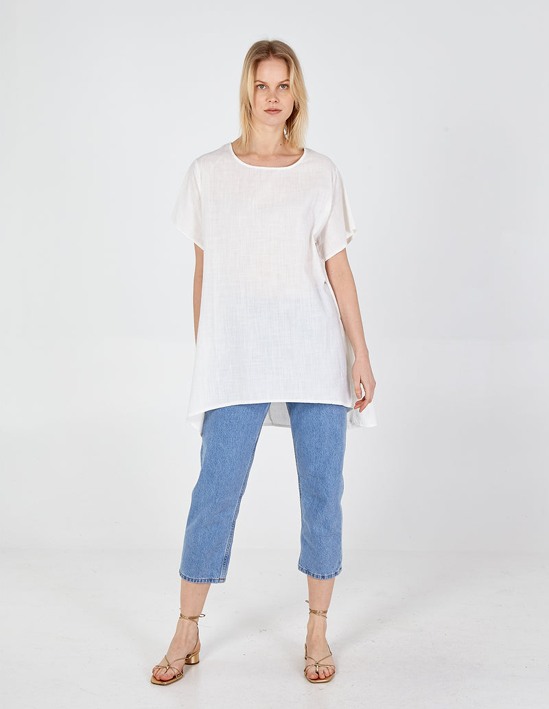 AUGUSTA - Linen Drop Pocket Hi Low Tunic