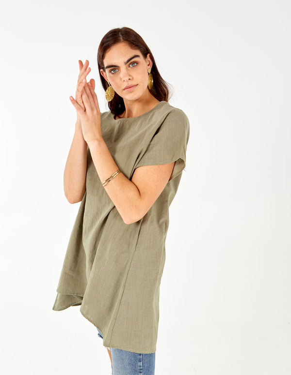 AUGUSTA - Linen Drop Pocket High-Low Tunic Top