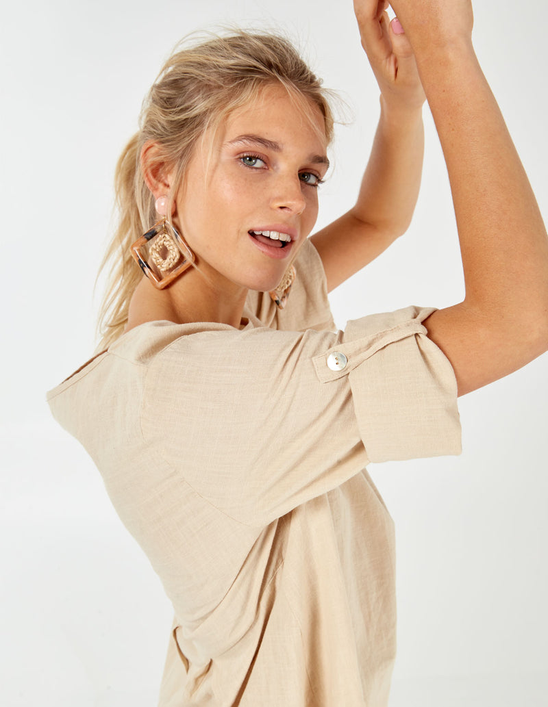 IVY - Linen Like Button Back Stone Tunic