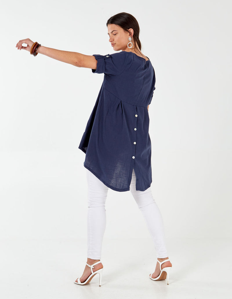 IVY - Linen Like Button Back Navy Tunic