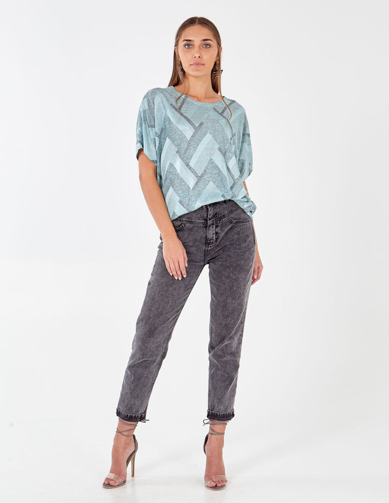 AVIVA - Geo Printed Oversize Mint Top