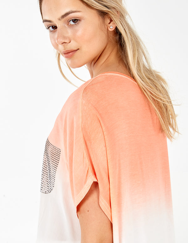 KINNI - Studded Pocket Dip Dye Orange Top