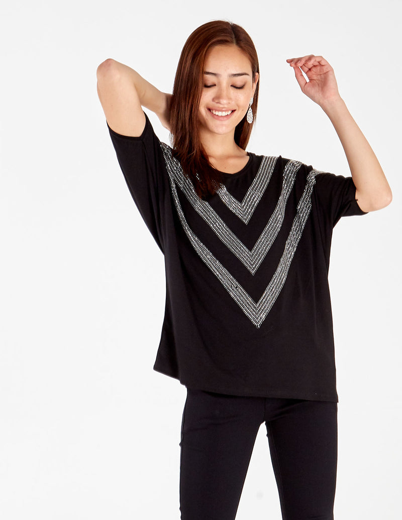 ISABELLE - V Neck Diamante Chevron Top