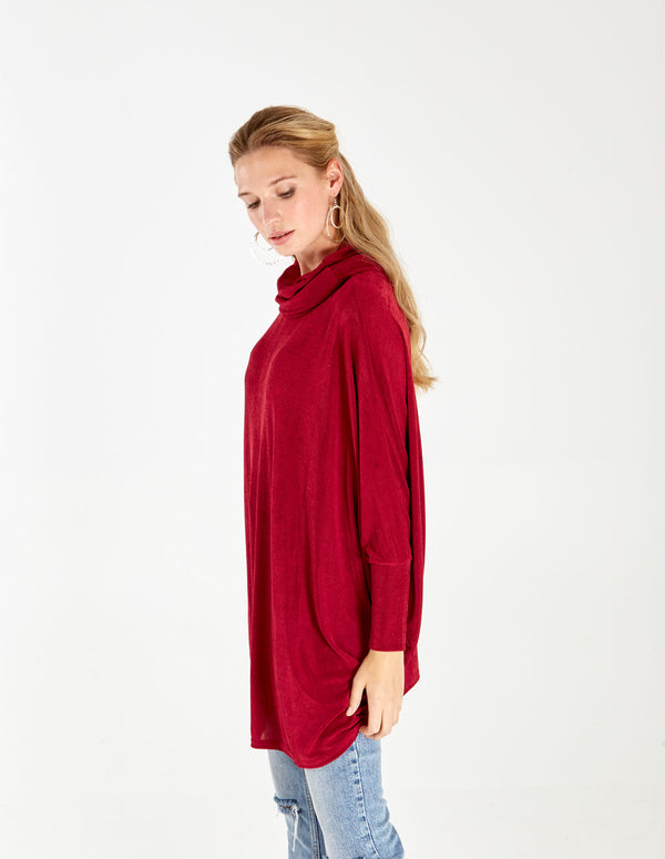 Cowl Neck Oversized Batwing Top