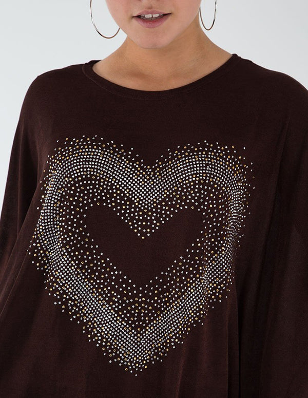 ROSIE - Diamante Heart Batwing Top