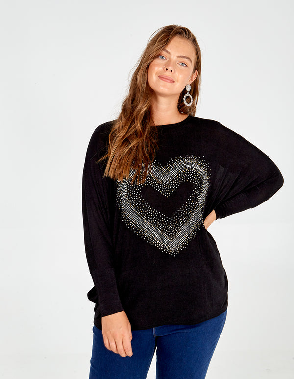 ROSIE - Curve Heart Batwing Jumper