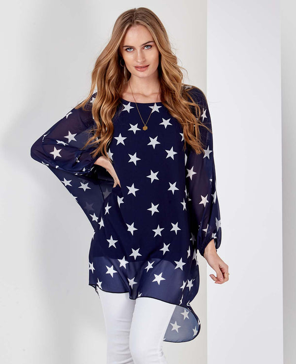 JADE - Satin Star Navy Top