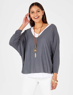 JOSIE - Necklace Detail Layered Grey Top