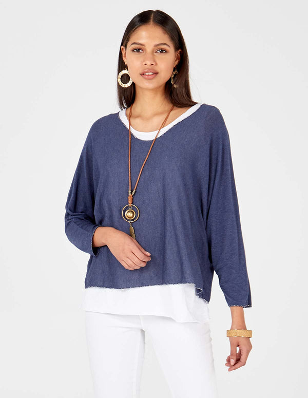 JOSIE - Necklace Detail Layered Navy Top