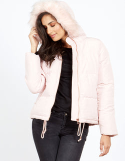 BARRY - Pink Faux Fur Hooded Puffer Jacket