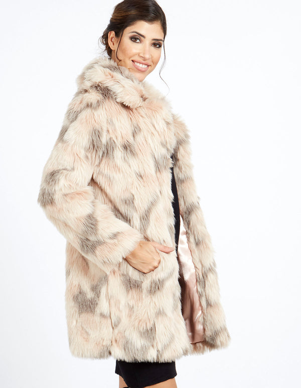 SANDRA - Blush Abstract Faux Fur Coat