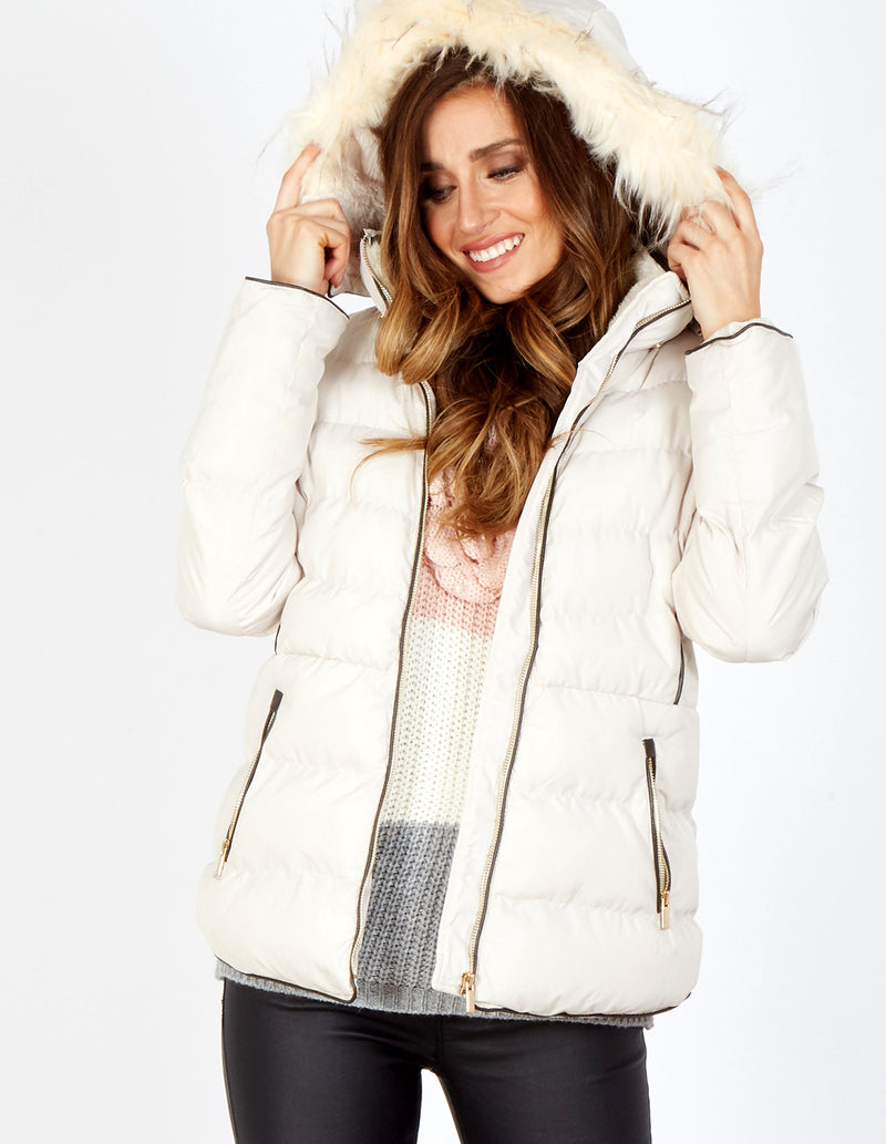 NIXIE - Piped Zip Through Short Beige Puffer