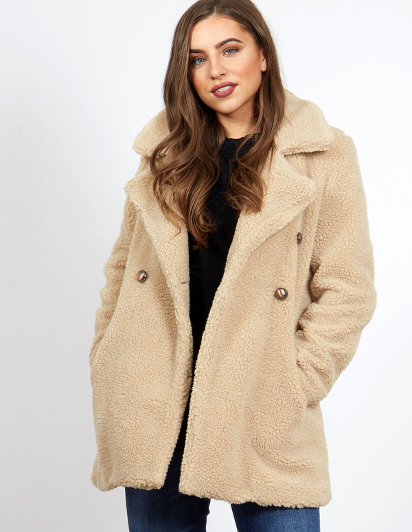 SAMOA - Beige Double Breasted Teddy Coat