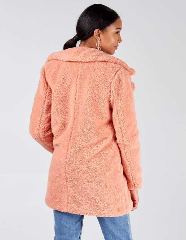 SAMOA - Pink Double Breasted Teddy Coat