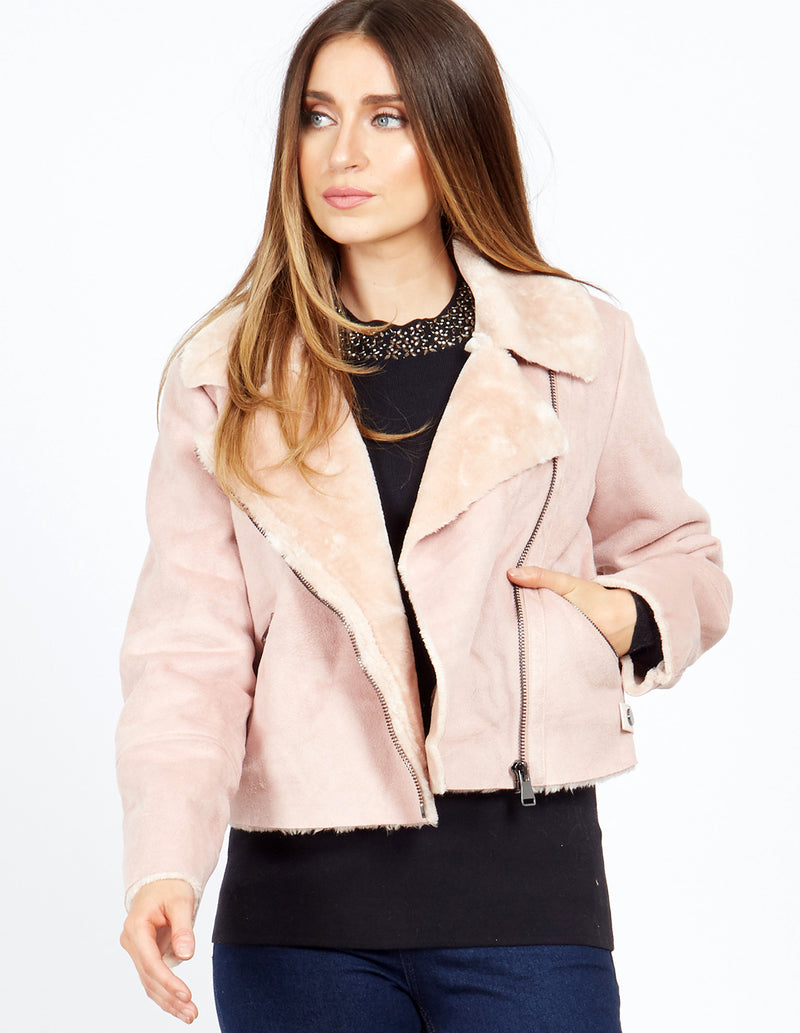SUSIE - Pink Cropped Shearling Aviator Jacket