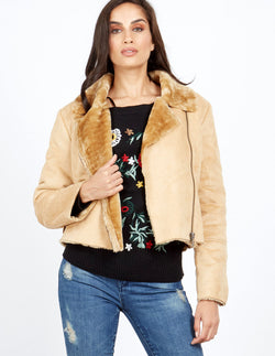 SUSIE - Camel Cropped Aviator Jacket