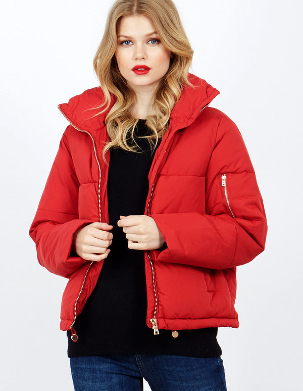 DUSANA - Red Boxy Cropped Funnel Neck Puffer
