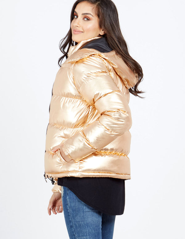 BRADY - Rose Gold Metallic Zip Puffer Jacket