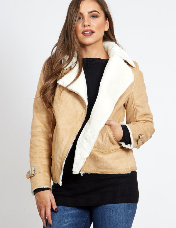 DUSKA - Beige Buckle Detail Aviator Shearling Jacket
