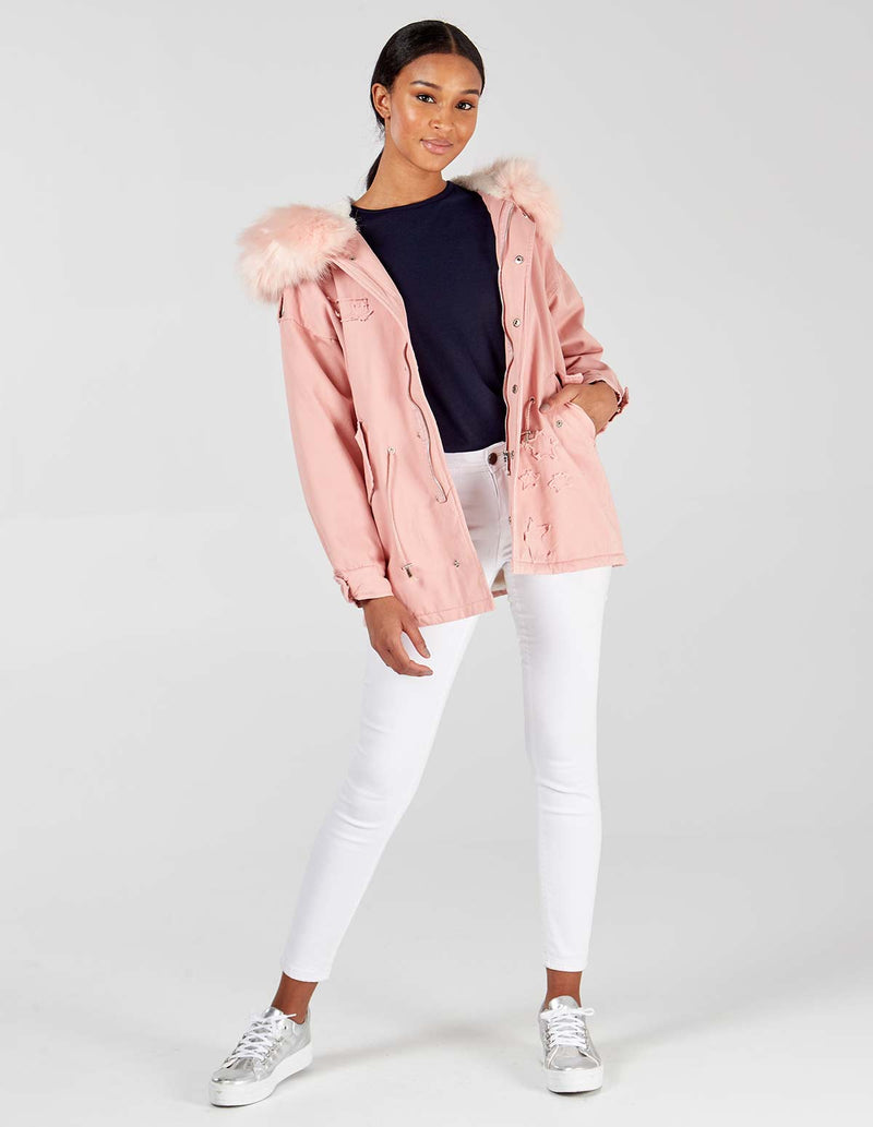 VALENCIA - Pink Parka With Fur Hood Trim