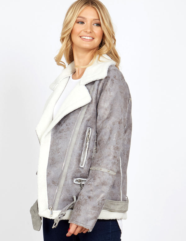 RANI - Grey Studded Detail Aviator Shearling Jacket