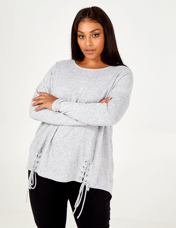 SKYLAH - Curve Lace Ties Crew Neck Top