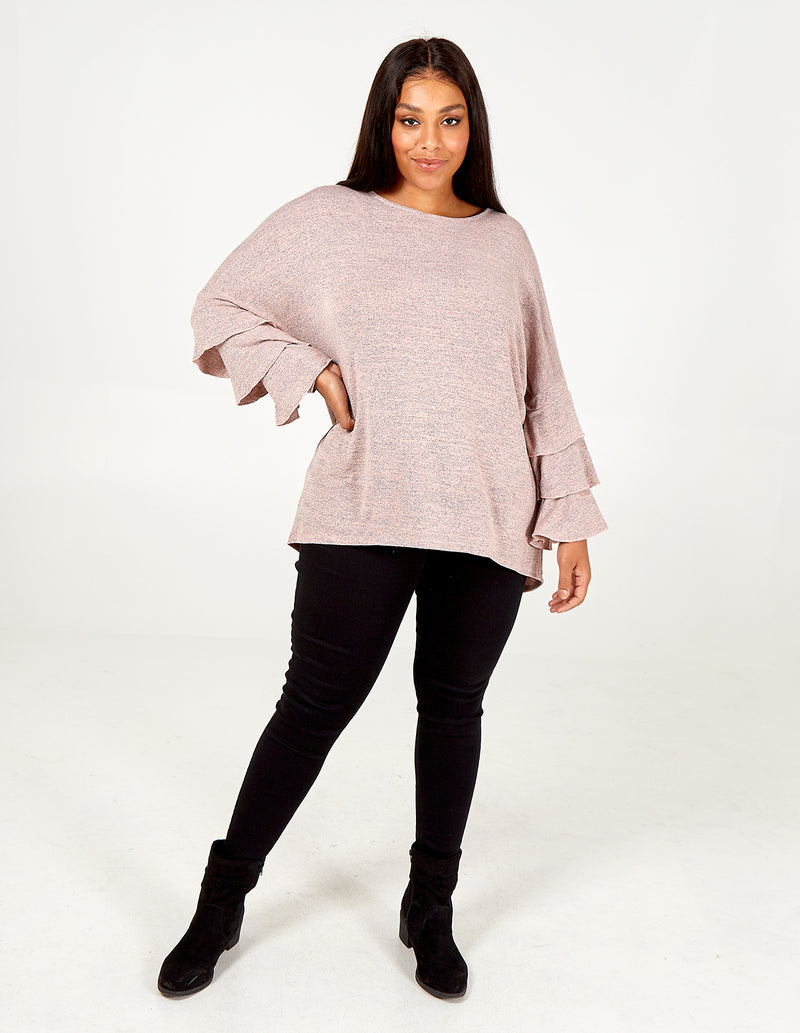 MAJA - Curve Long Sleeve Jumper With Flare Frill Sleeve