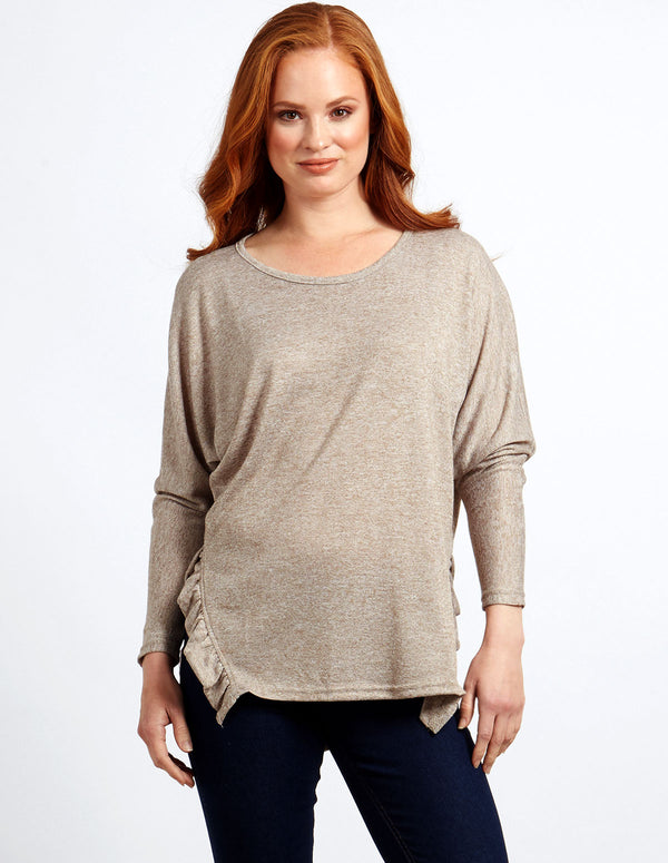 VIVIAN - Batwing Oatmeal Top With Frill Side Seam