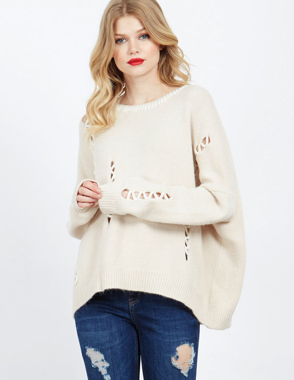 DOON - Cream Oversized Jumper With Stitch Detail