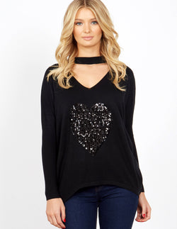PAVLA - Choker Sequin Heart Black Jumper