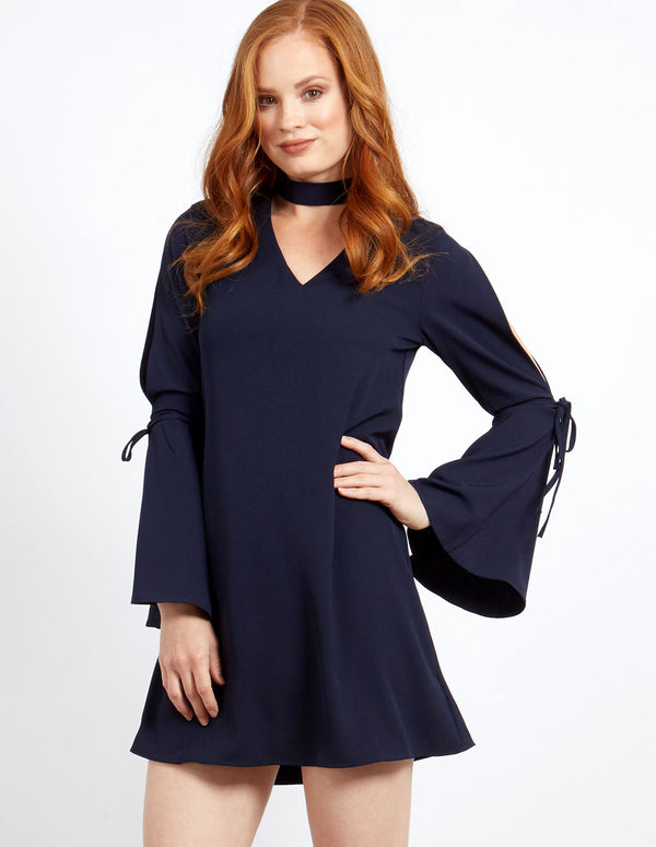 LOLITA - Choker V Neck Sleeve Detail Navy Dress