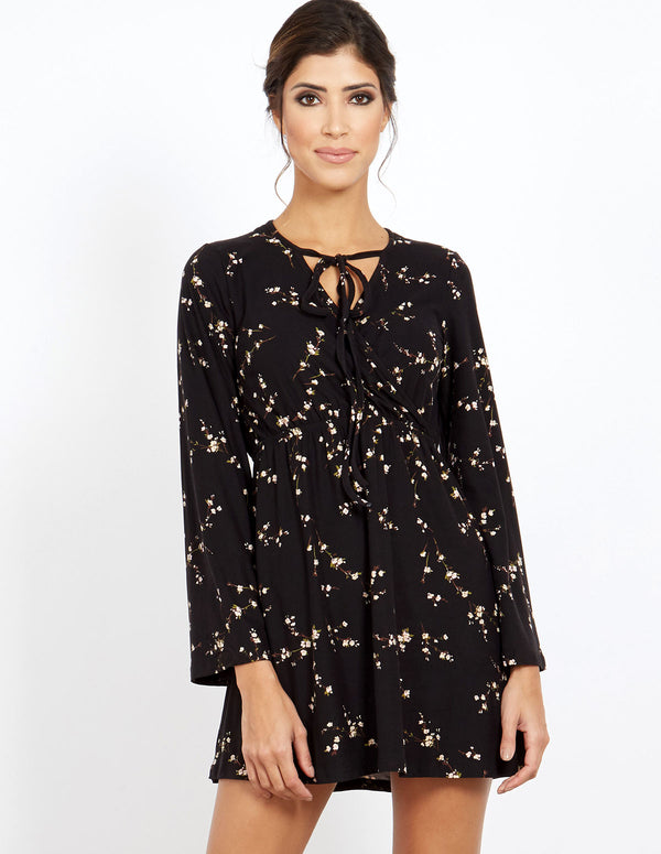 VINA - Floral Print V Neck Long Sleeve Black Dress