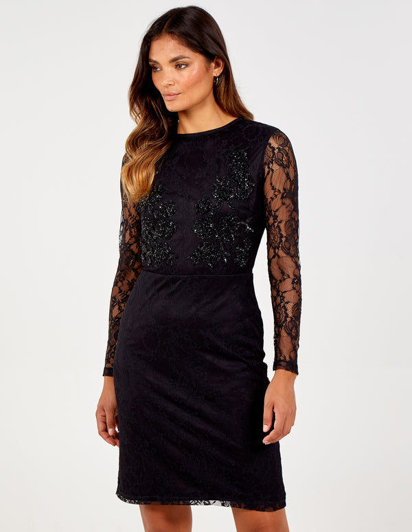 ELLIE - Long Sleeve Embroidered Bust Lace Dress