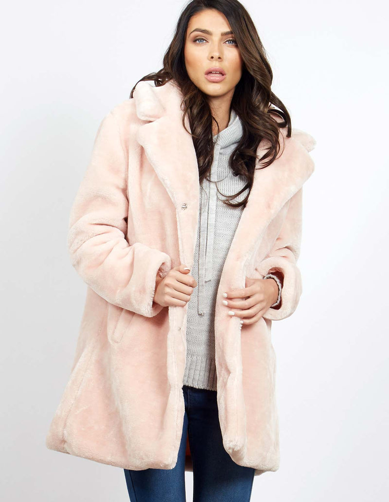 DARU - Blush Teddy Fur Coat