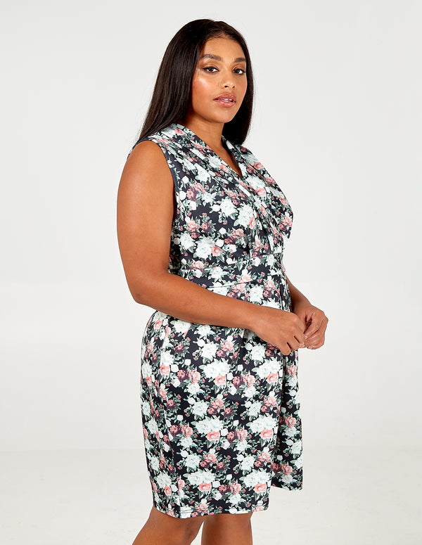 ROSE - Curve Wrap Floral V Neck Dress