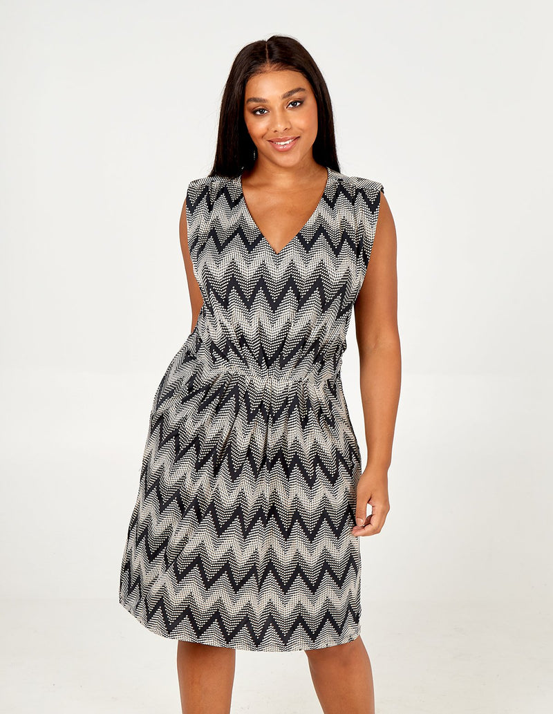 LUISA - Zig Zag Sleeveless Dress