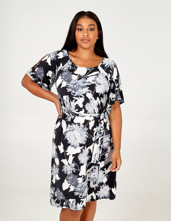SINEAD - Curve Cold Shoulder With Sash Belt Dress