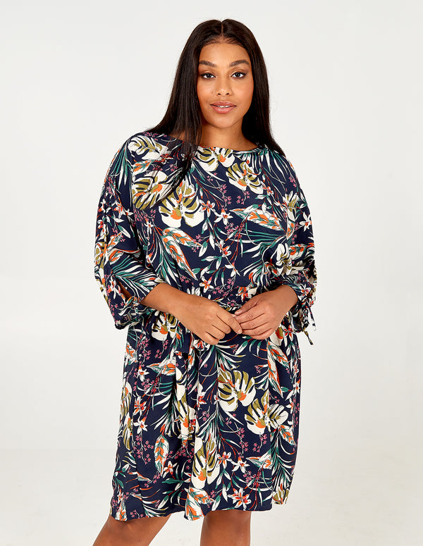 MARNI - Curve Draw String Tropical Printed Dress
