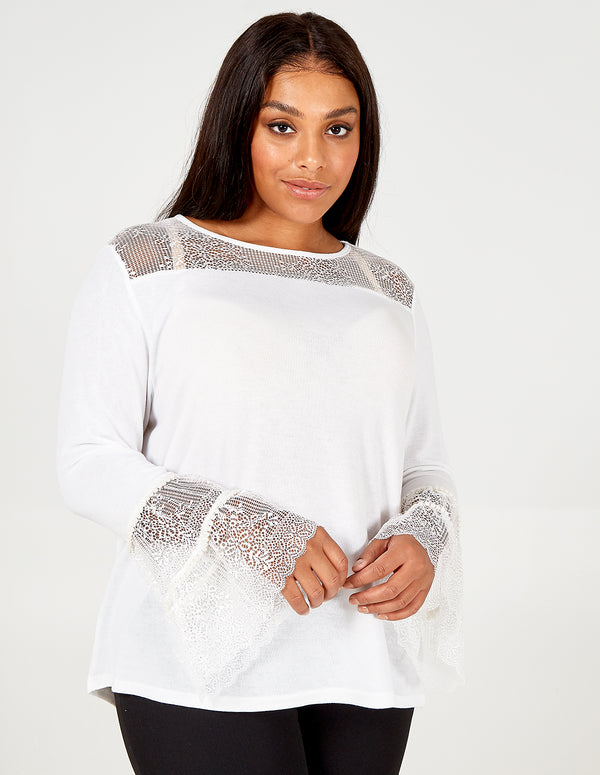 JASLEEN - Curve Pearl Trim Tiered Lace Sleeve Top