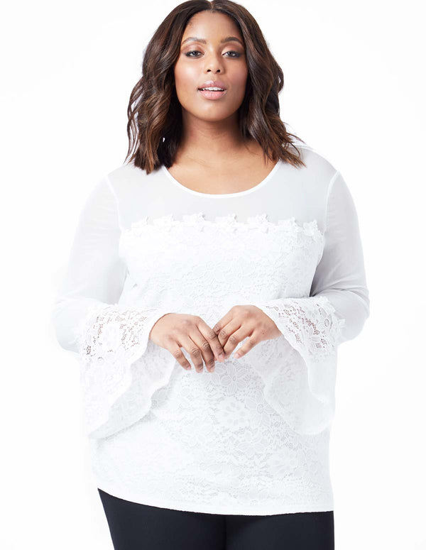 EVIE - Curve Bell Sleeve Lace Flower Trim Top
